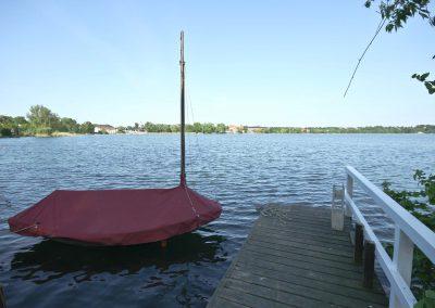 Ferienhaus am Küchensee (Ratzeburg) Blick auf See mit Boot